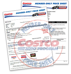 Costco Member Price Sheet Cars